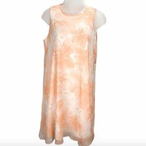 Calvin Klein Womens Sz 6 Peach Floral Shift Dress